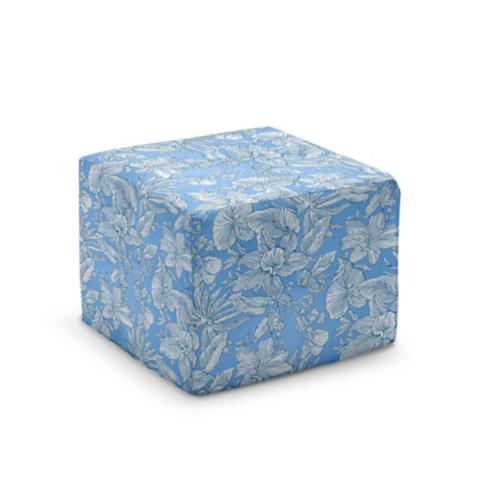 Outdoor Pouf Ottoman In Patterned Fabrics