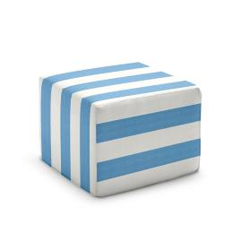 Outdoor Pouf Ottoman in Striped Fabrics