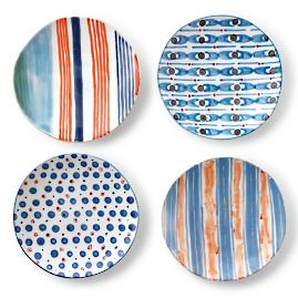 Median Mixed Salad Plates, Set of Four