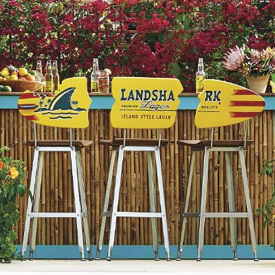 Margaritaville Landshark Surfboard Barstools Set Of Three Frontgate