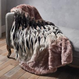 Luxury Faux Fur Throw in Chevron