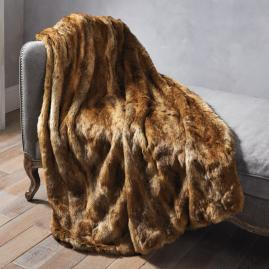 Luxury Faux Fur Throw in Coyote