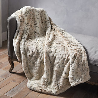 Luxury Faux Fur Throw in Lynx
