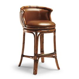 "Bali Woven Swivel Bar Height Bar Stool (30-1/2""H"