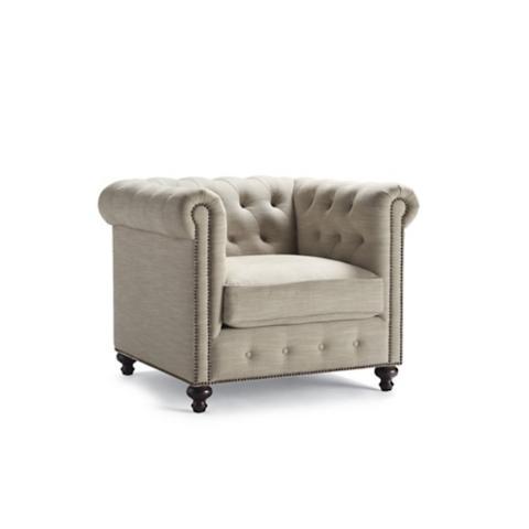 Petite Barrow Chesterfield Linen Chair