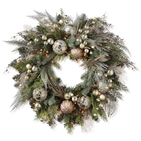 Mixed metals pre decorated wreath frontgate