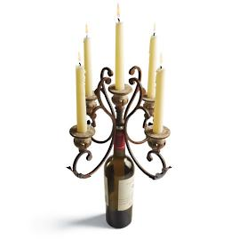Porto Wine Candelabra Single in Antique Bronze