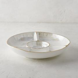 Donatella Mother of Pearl Chip and Dip Server