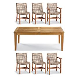 Isola 7-pc. Rectangular Dining Set in Natural Finish