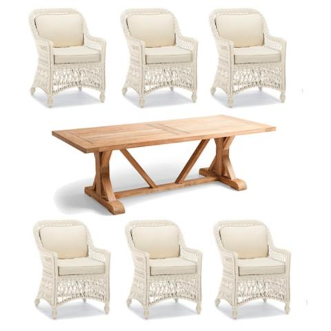 Hampton Wash Teak 7-pc. Dining Set in Ivory Finish | Frontgate