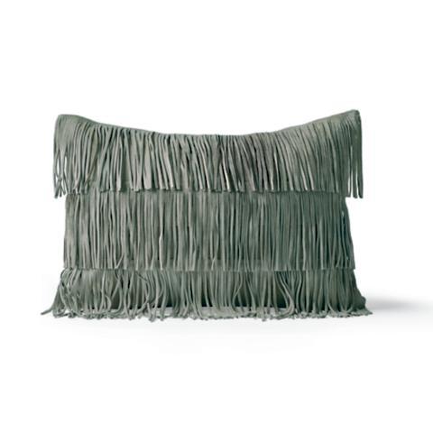 Decorative Pillows With Fringe Part - 20: Suede Fringe Decorative Lumbar Pillow