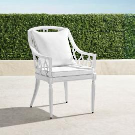 Avery Dining Arm Chair with Cushions in White