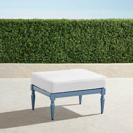 Avery Ottoman with Cushion in Moonlight Blue Finish