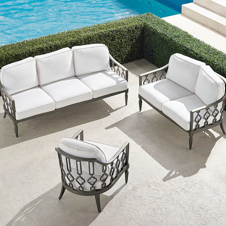 Avery 3 Pc Sofa Set In Slate Finish, Front Gate Outdoor Furniture