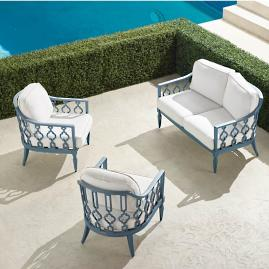 Avery 3-pc. Loveseat Set in Moonlight Blue Finish