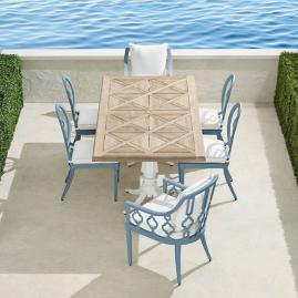 Avery 7-pc. Dining Set in Moonlight Blue Finish
