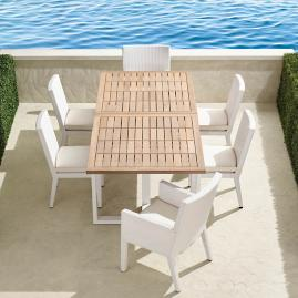 Pierce 7-pc. Expandable Teak Dining Set in White