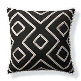 Geometric Columns Black Outdoor Pillow