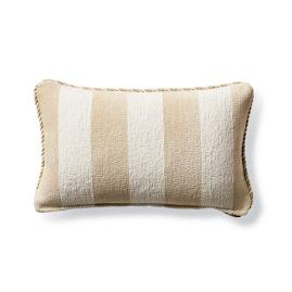 Caicos Stripe Sand Outdoor Lumbar Pillow