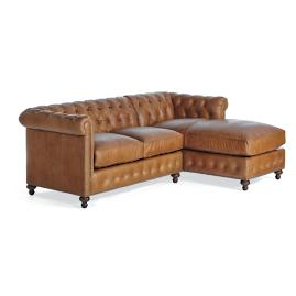 Petite Barrow Leather Loveseat with Right-facing Chaise