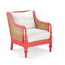 Palisade Chair in Coral Finish with Cushion