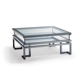Palmer Sliding Square Coffee Table in Gunmetal Bronze