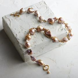 Wrapped Baroque Blush Pearl Milagros Necklace by Bittersweet
