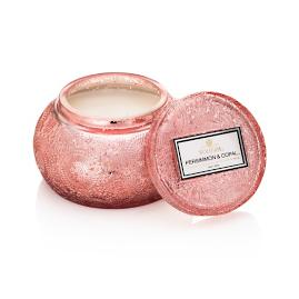 Voluspa Persimmon and Copal Embossed Glass Candle