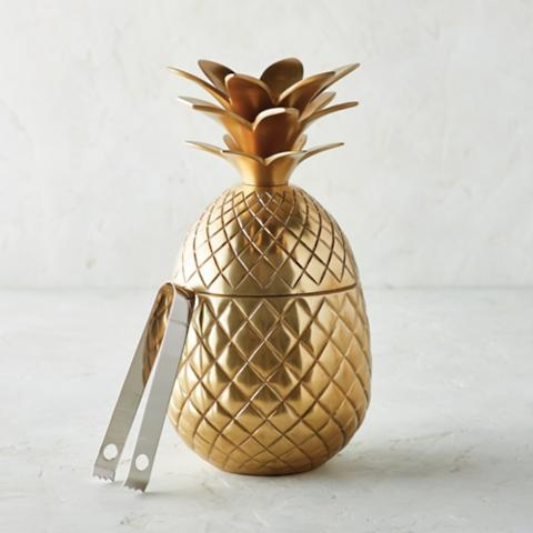 Golden Pineapple Ice Bucket with Tongs