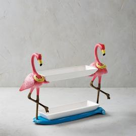 Hawaiian Flamingo Two-tier Tray Server