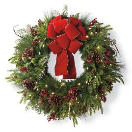 Christmas Cheer Wreath with Red Bow
