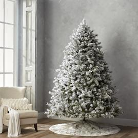 Flocked Norway 9' Full Profile Tree with Meteor