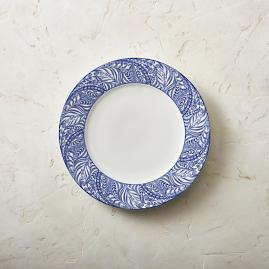 Blue Feather Dinner Plates, Set of Four