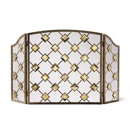 Viceroy Mercury Glass Tri-fold Fireplace Screen