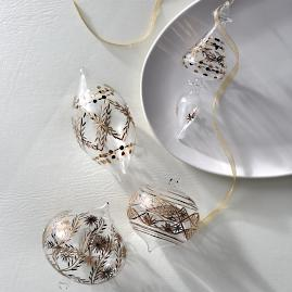 Atelier Glam Gold Etched Glass Ornaments, Set of