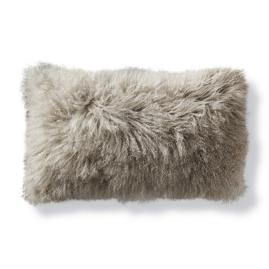 Mongolian Fur Lumbar Decorative Pillow in Silver