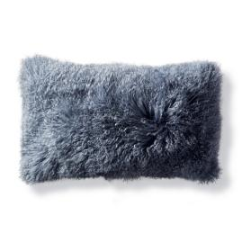 Mongolian Fur Lumbar Decorative Pillow in Stone Blue