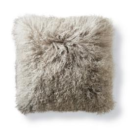 Mongolian Fur Square Decorative Pillow in Silver