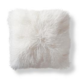 Mongolian Fur Square Decorative Pillow in White
