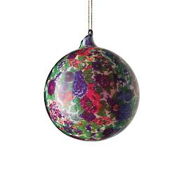 "Jim Marvin Blue Green Flower Ball 5-1/2"" Ornaments,"
