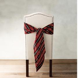 Donatella Holiday Plaid Chair Sashes, Set of Four
