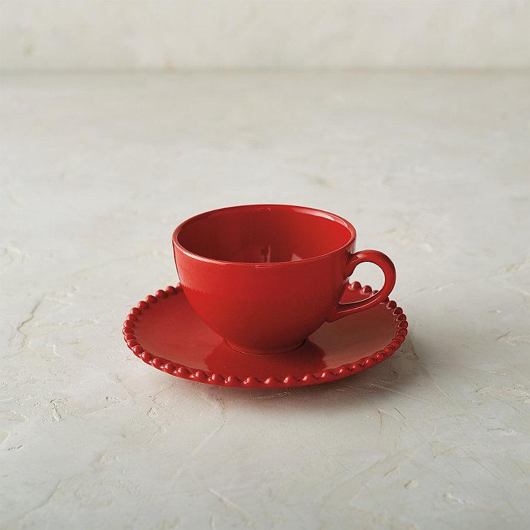 Costa Nova Pearl Coffee Cups and Saucers in Rubi, Set of Six
