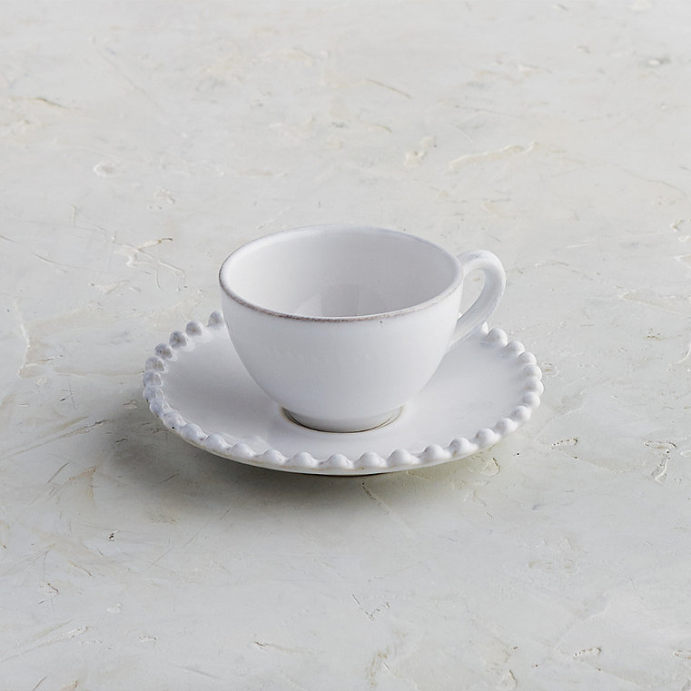 Costa Nova Pearl Coffee Cups and Saucers in White, Set of Six