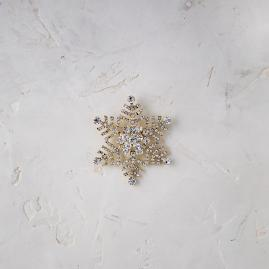 Donatella Crystal Snowflake Pins, Set of Four