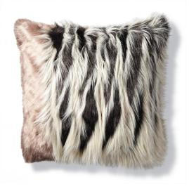 Luxury Faux Fur Pillow in Chevron