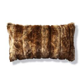 Luxury Faux Fur Lumbar Pillow in Coyote