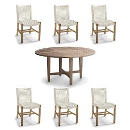Isola 7 Pc. Round Dining Set In Weathered Finish