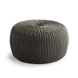 Hudson Outdoor Pouf Ottoman in Charcoal