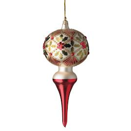 Holly Diamond Finial Ornament by Katherine's Collection, Top