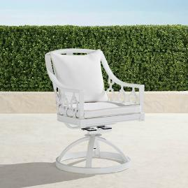 Avery Swivel Dining Chair with Cushions in White